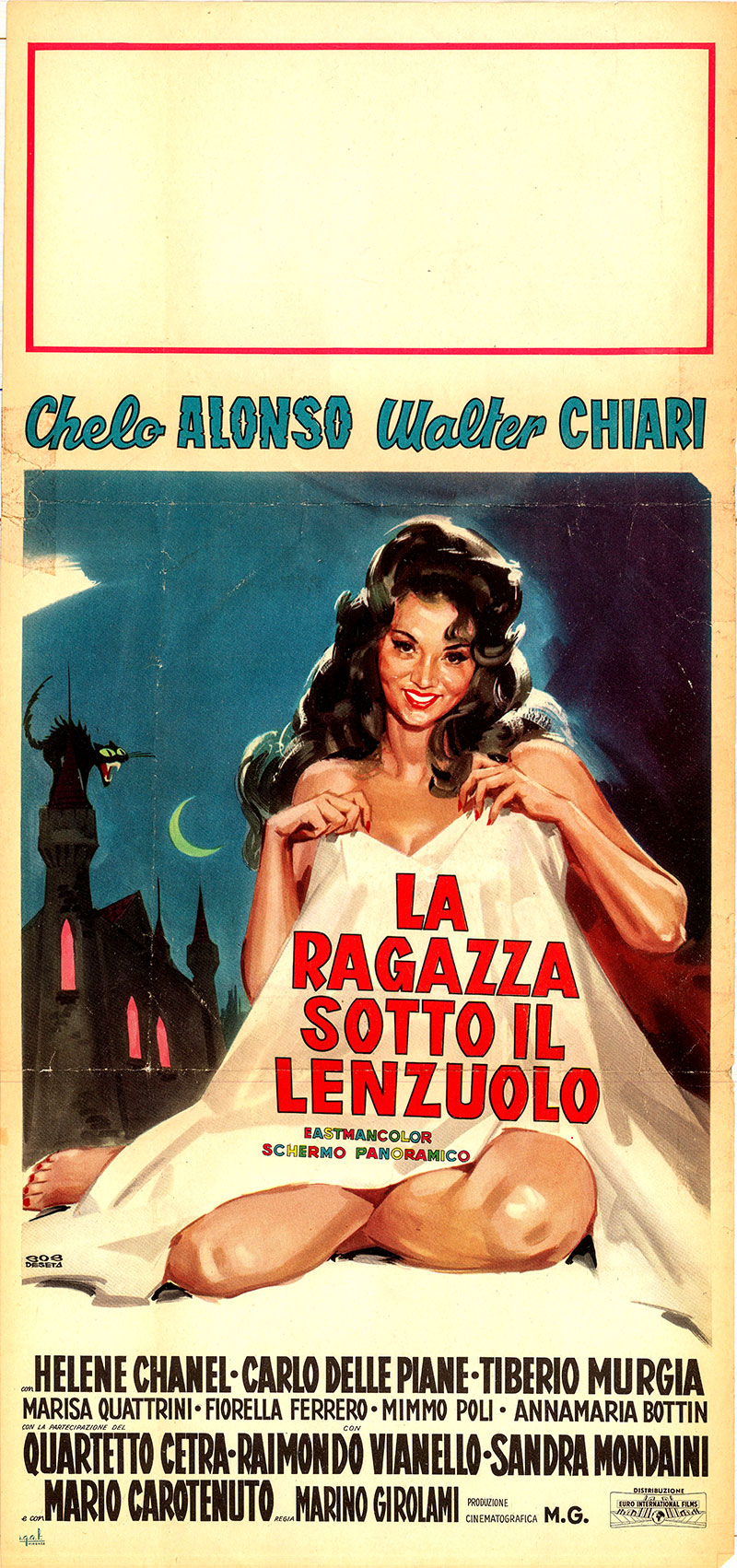 Pictured is an Italian locandina poster designed by Enrico De Seta for the 1961 Martino Giorlami film Girl under the Sheet starring Chelo Alonso as Maria Celeste Cortez d'Aragona.
