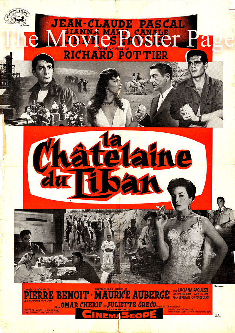 Pictured is a French promotional poster for the 1956 Richard Pottier film The Lebanese Mission starring Jean-Claude Pascal as Jean Domèvre.