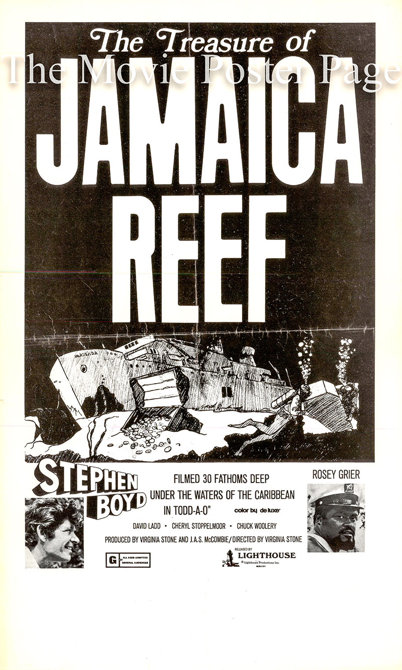 Pictured is a US promotional poster for the 1974 Virginia Stone film The Treasure of Jamaica Reef starring Stephen Boyd as Hugo Graham.
