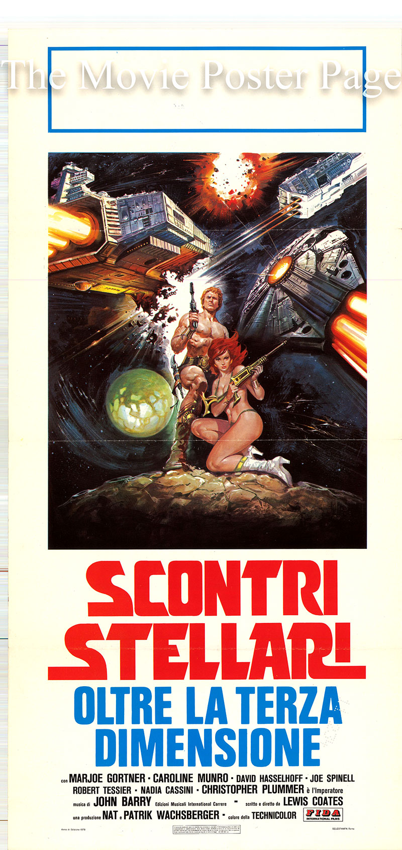 Pictured is a Italian locandina promotional poster for the 1967 Luigi Cozzi film Starcrash starring Caroline Munro as Stella Star.