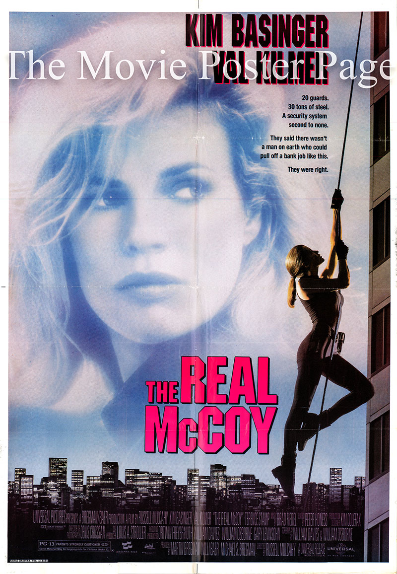 Pictured is a US one-sheet promotional poster for the 1993 Russell Mulcahy film The Real McCoy starring Kim Basinger as Karen McCoy.