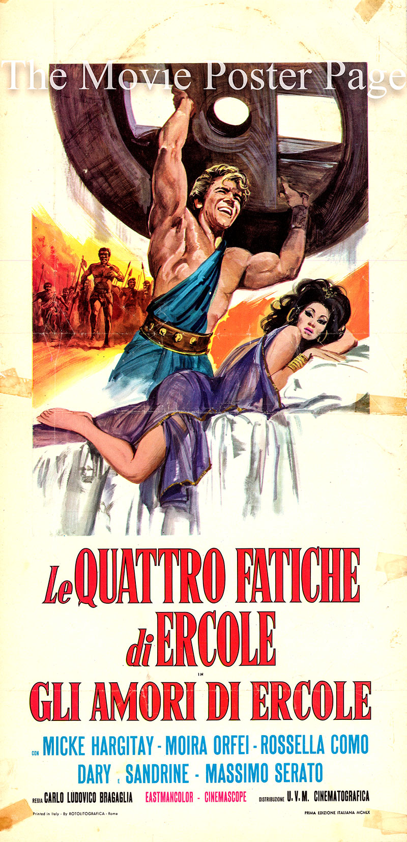 Pictured is an Italian locandina poster for the 1960 Carlo Ludovico Bragaglia film The Loves of Hercules, starring Jayne Mansfield as Queen Dianira.