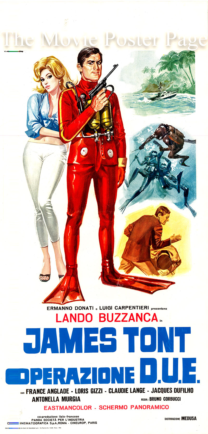 Pictured is an Italian locandina poster for the 1966 Bruno Corbucci film James Tont Operatione D.U.E. starring Lando Buzzanca as James Tont.
