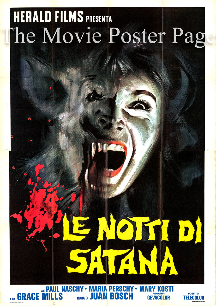 Pictured is an Italian four-sheet poster for the 1968 Enrique L. Equiluz film Frankenstein's Bloody Terror starring Paul Naschy as Waldemar Daninsky.
