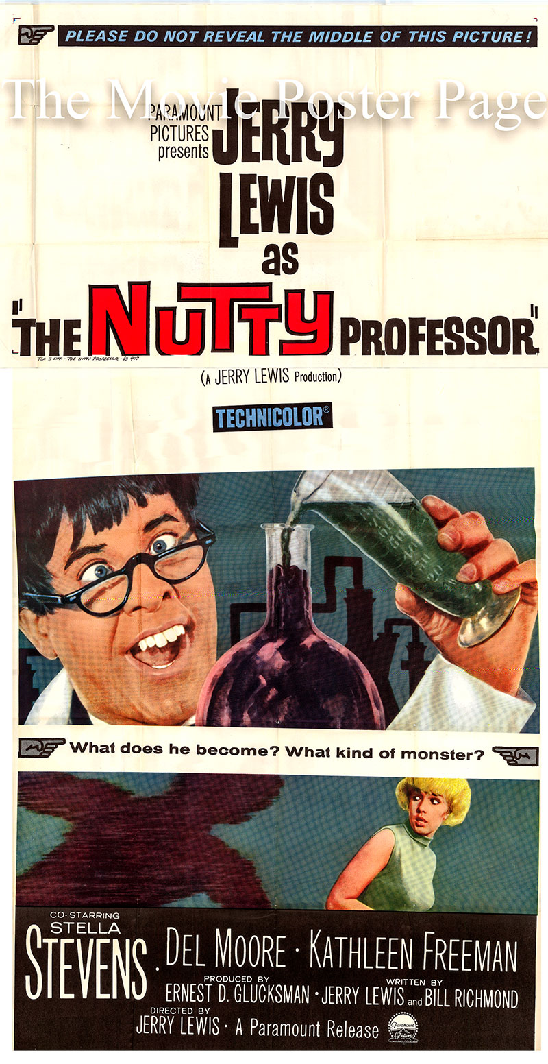 Pictured is a US one-sheet promotional poster for the 1966 Jerry Lewis film The Nutty Professor starring Jerry Lewis as Buddy Love.