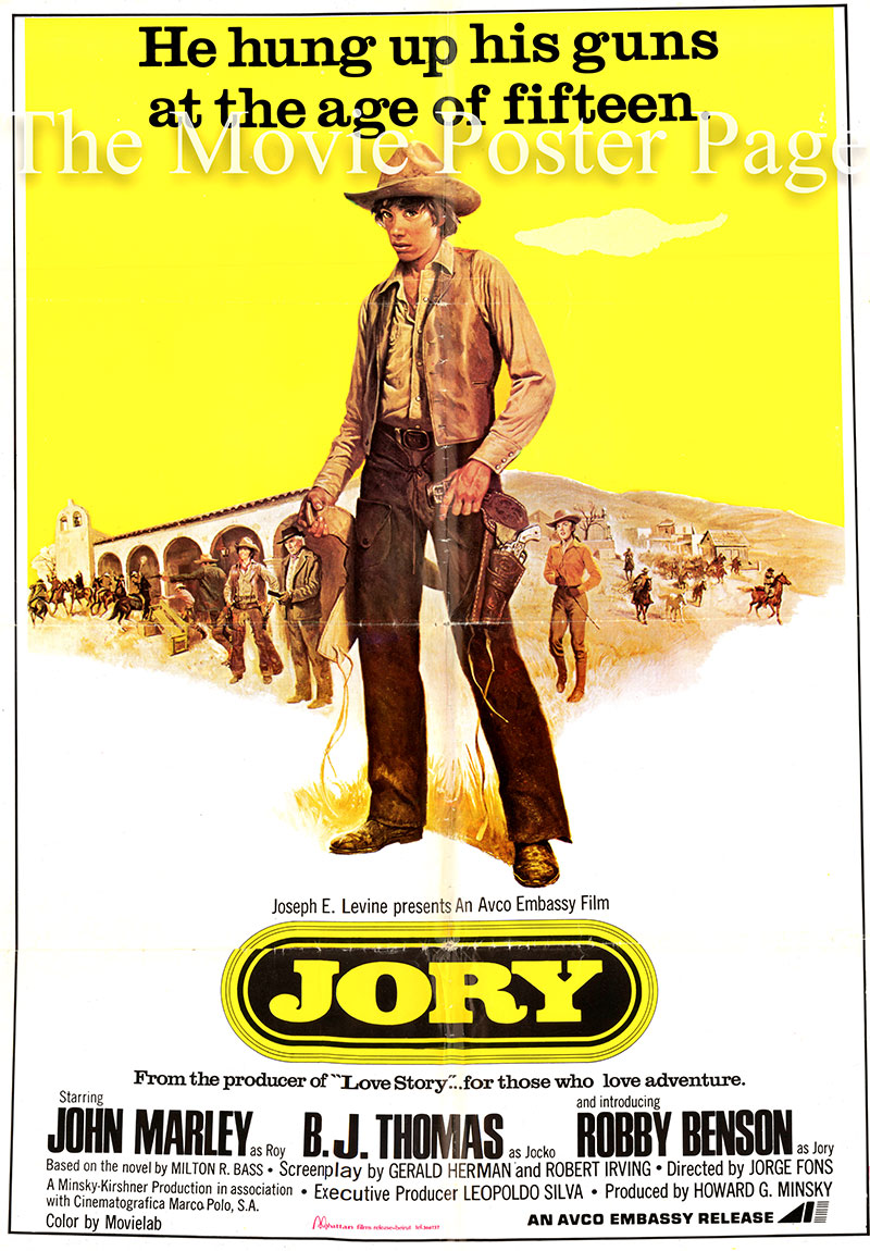 Pictured is a Lebanese one-sheet promotional poster for the 1973 Jorge Fons film Jory starring Bobby Benson as Jory Walden.