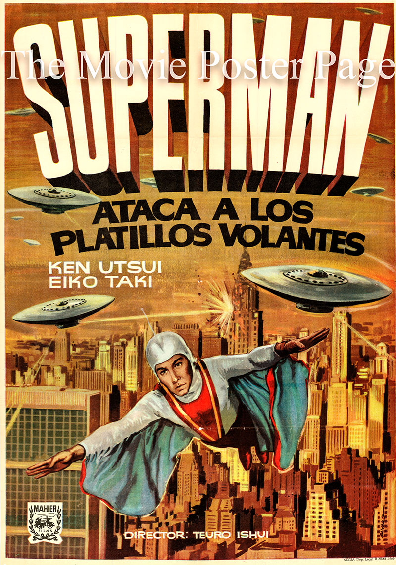 Pictured is a Spanish one-sheet promotional poster for a 1965 rerelease of the 1958 Teruo Ishii film Destruction of the Space Fleet starring Ken Utsui as the Super Giant.