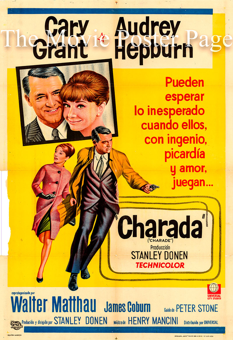 Pictured is an Argentine one-sheet promotional poster for the 1963 Stanley Donen film Charade starring Audrey Hepburn as Regina Lampert.