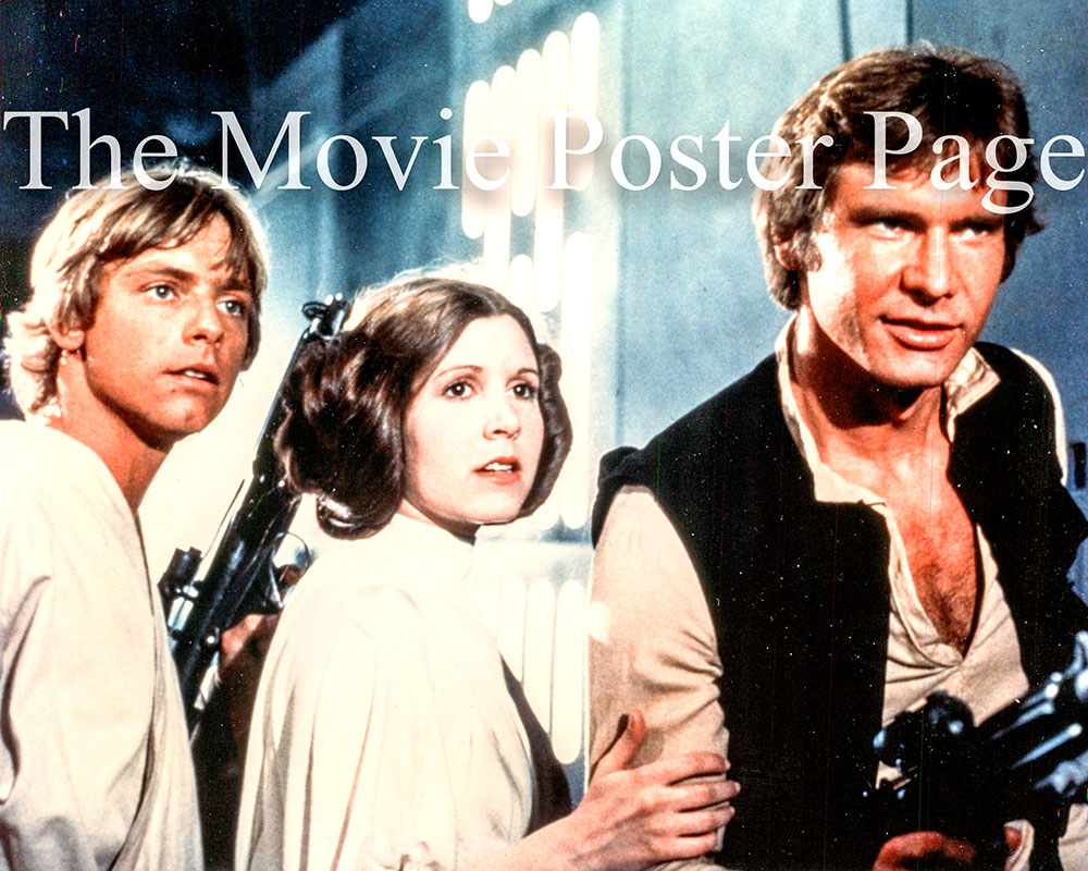 Pictured is a US promotional still photo from the 1977 Geore Lucas film Star Wars starring Harrison Ford as Han Solo.