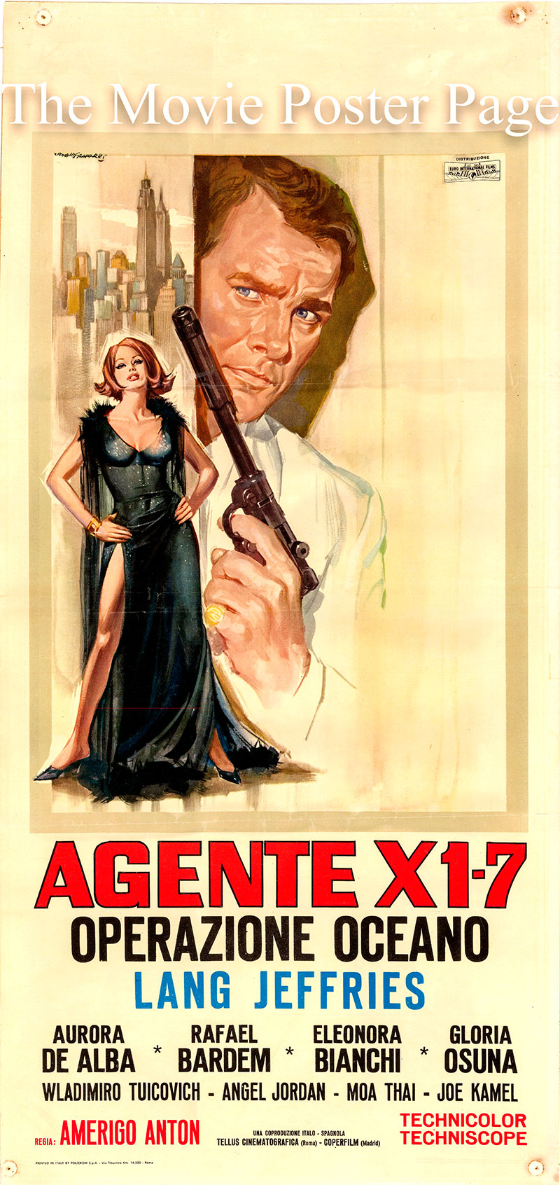 Pictured is an Italian locandina poster for the 1965 Tanio Boccia film Agente X 1-7 operazione Oceano starring Lang Jeffries as George Collins.