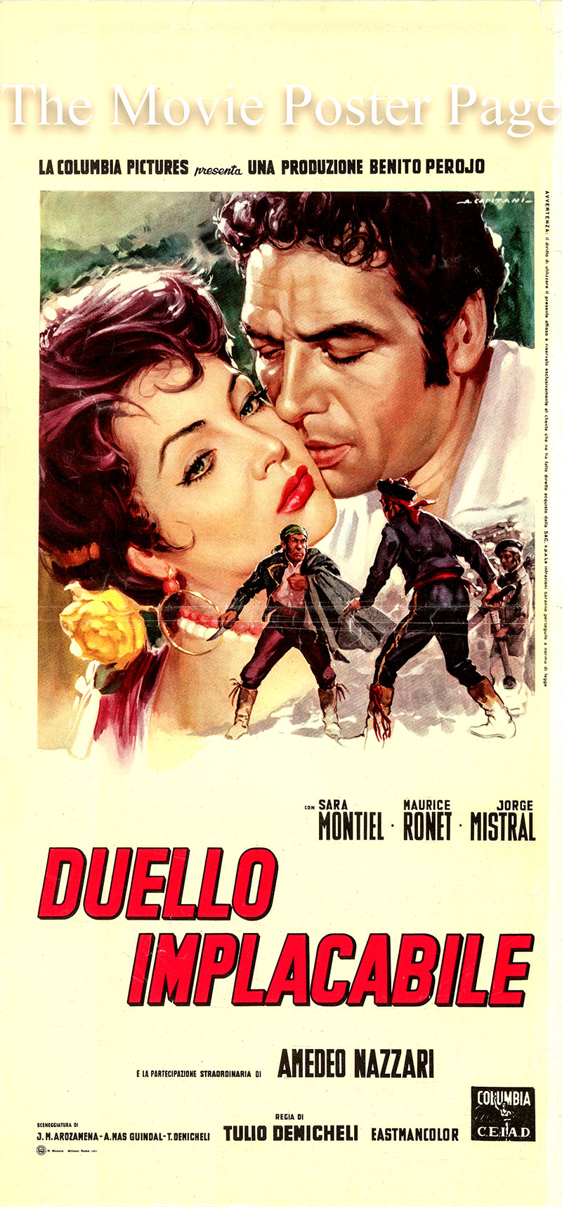 Pictured is an Italian locandina poster for the 1959 Tulio Demicheli film A Girl against Napoleon starring Sara Monteil as Carmen.