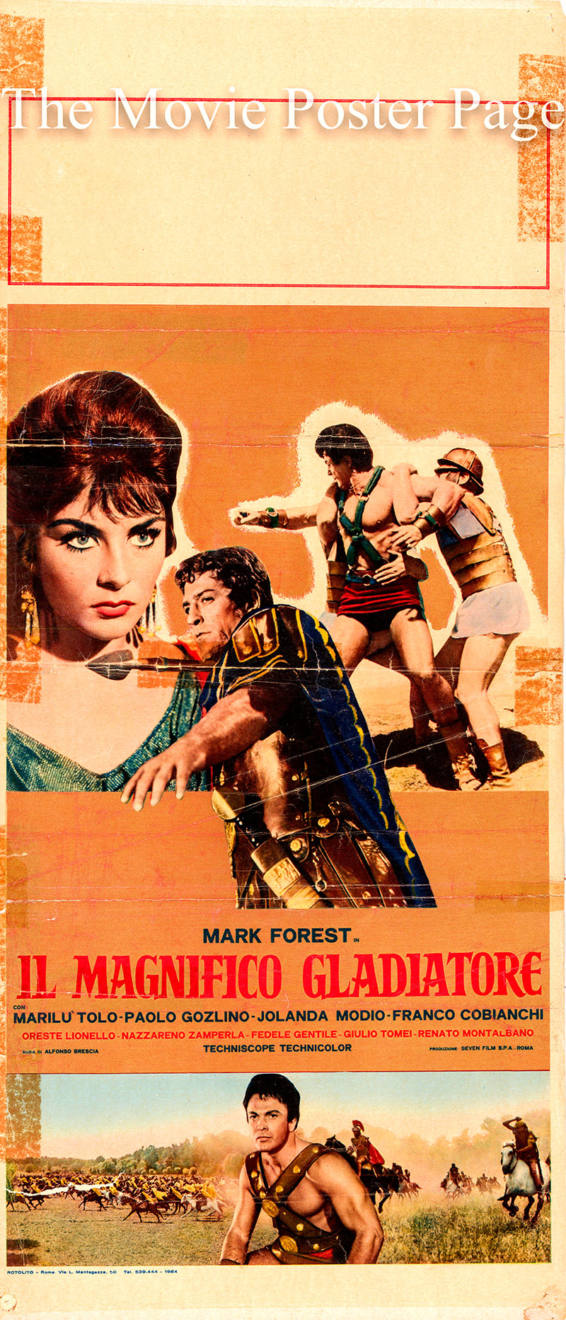Pictured is an Italian locandina poster for the 1964 Alfonso Brescia film The Magnificent Gladiator starring Mark Forest as Hercules/Attalus.