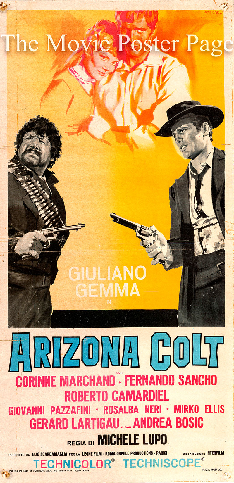 Pictured is an Italian locandina poster for the 1966 Michele Lupo film Man From Nowhere starring Giuliano Gemma as Arizona Colt.