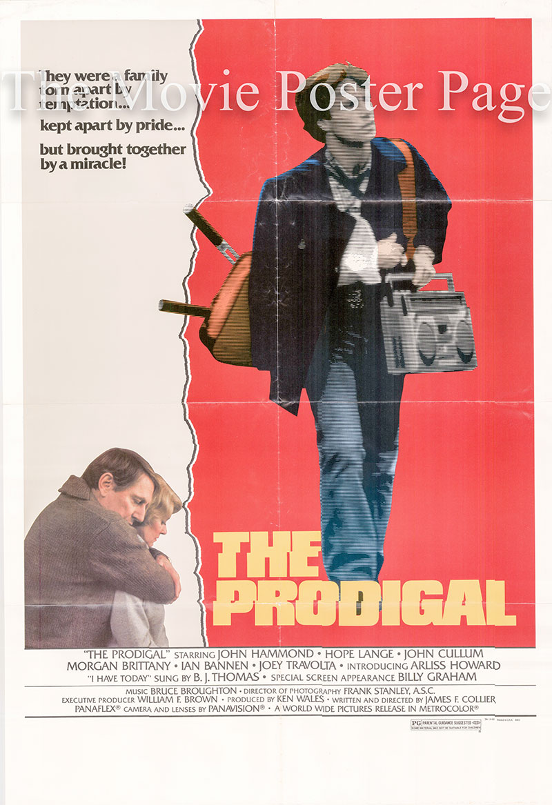Pictured is a US one-sheet poster for the 1983 James F. Collier film The Prodigal starring John Hammond as Greg Stuart.