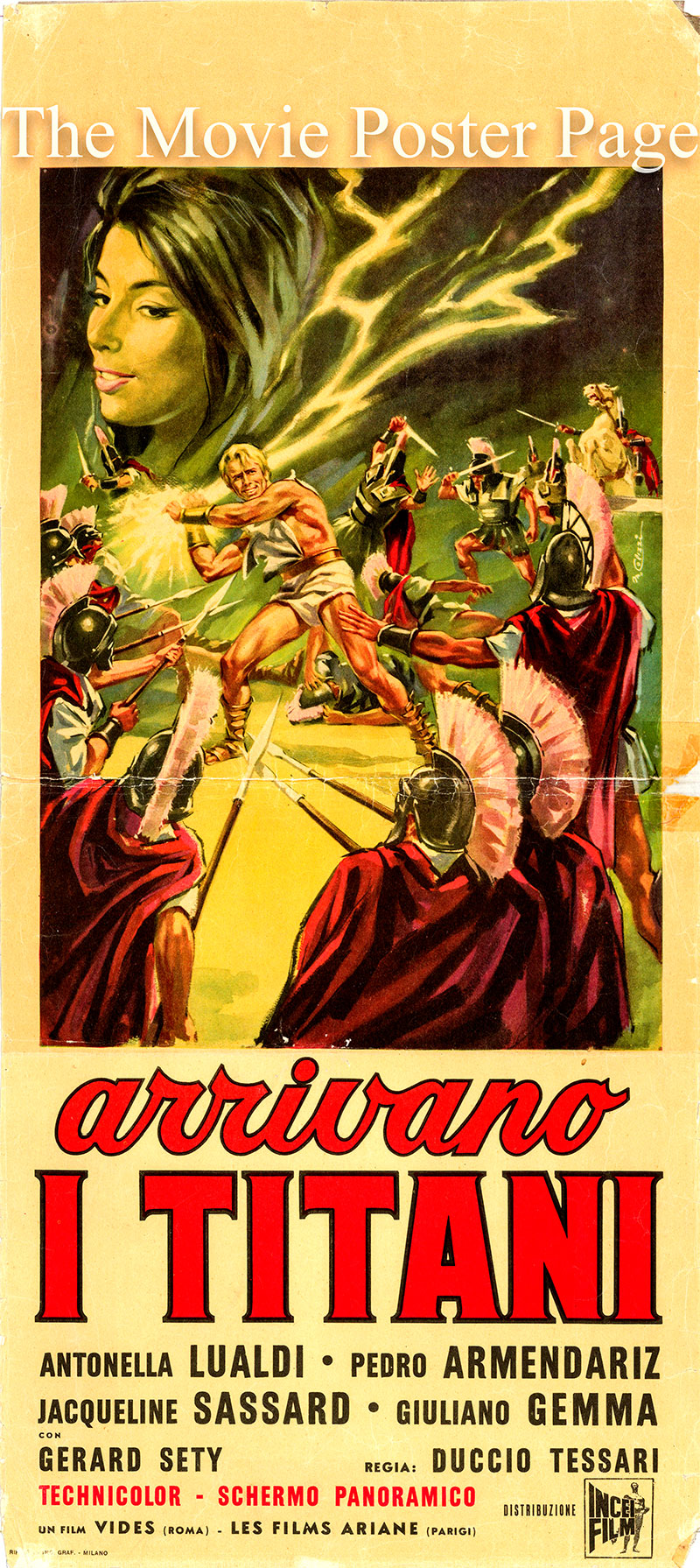 Pictured is an Italian locandina poster for the 1962 Duccio Tessari film My Son, The Hero starring Giuliano Gemma as Krios.