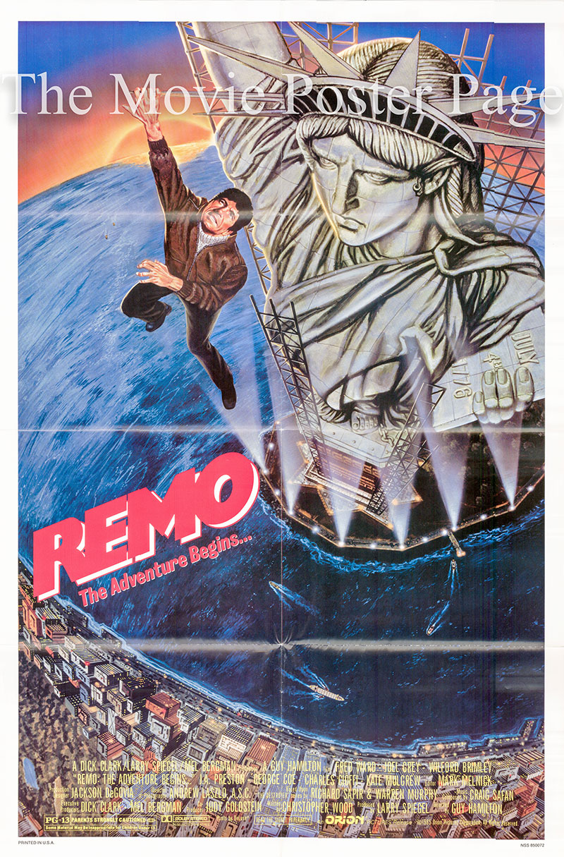Pictured is a US one-sheet poster for the 1985 Guy Hamilton film Remo: The Adventure Begins starring Fred Ward as Remo Williams.