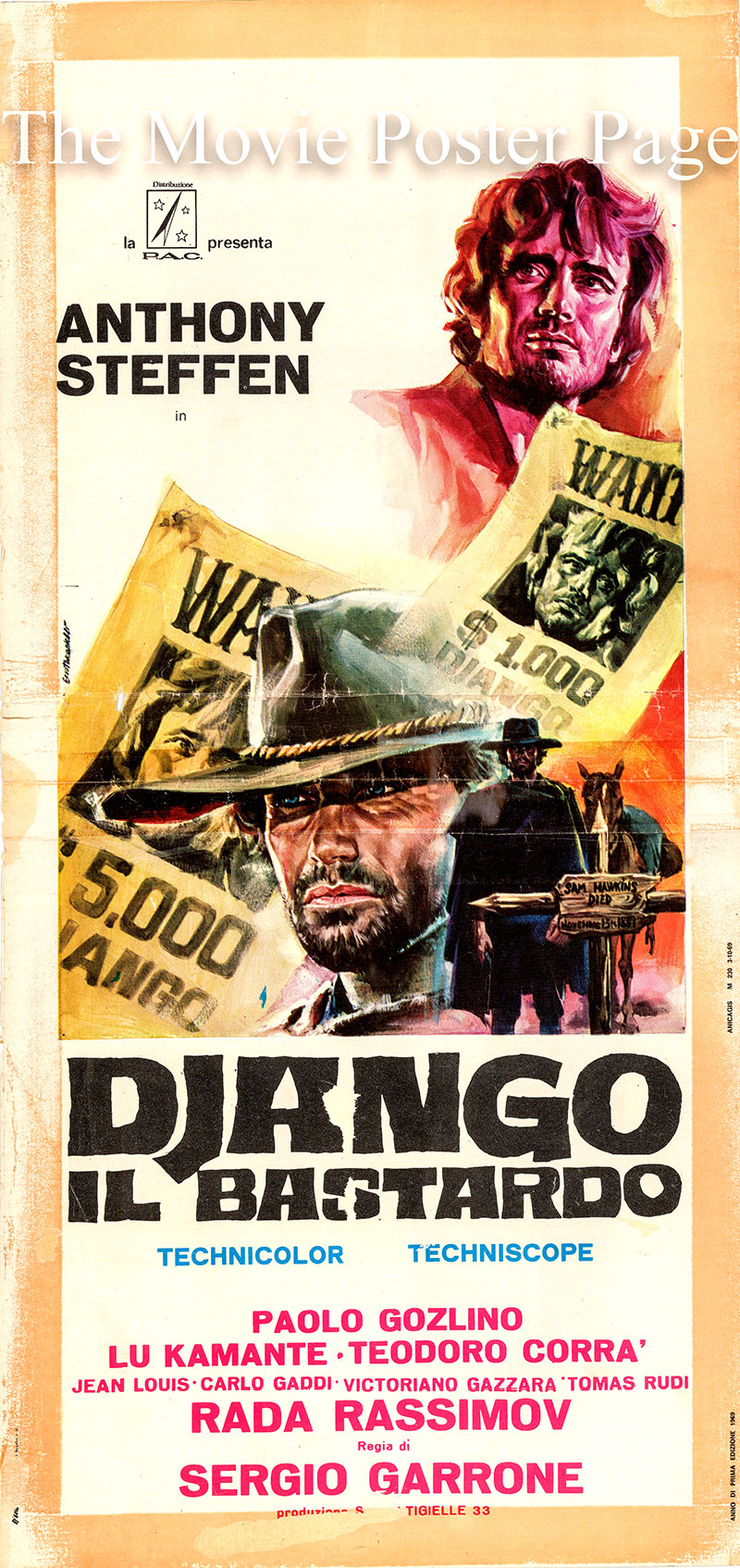Pictured is an Italian locandina poster for the 1969 Sergio Garrone film Django the Bastard starring Anthony Steffen as Django.