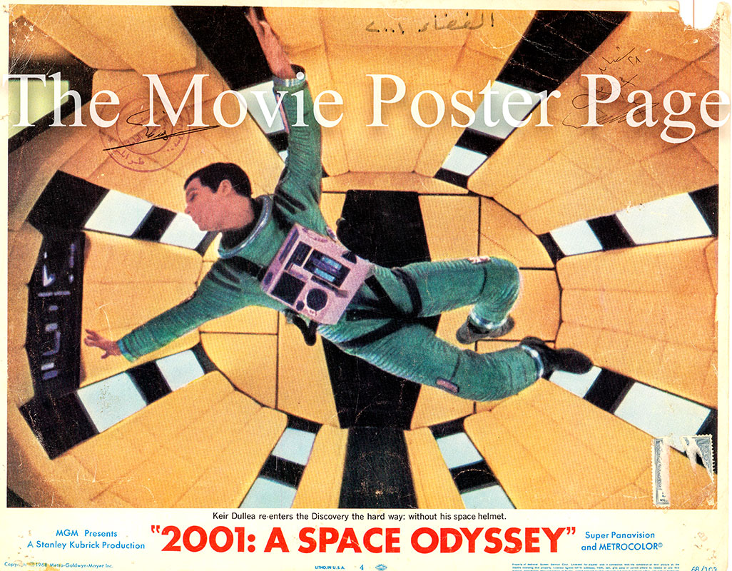 Pictured is a US lobby card for the 1968 Stanley Kubrickfilm 2001 a Space Odyssey starring Keir Dullea as Dr. Steve Bowman.