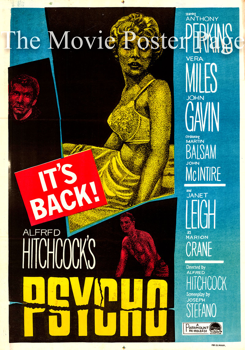 Pictured is an Egyptian promotional poster for a 1965 rerelease of the 1960 Alfred Hitchcock film Psycho starring Anthony Perkins as Norman Bates.