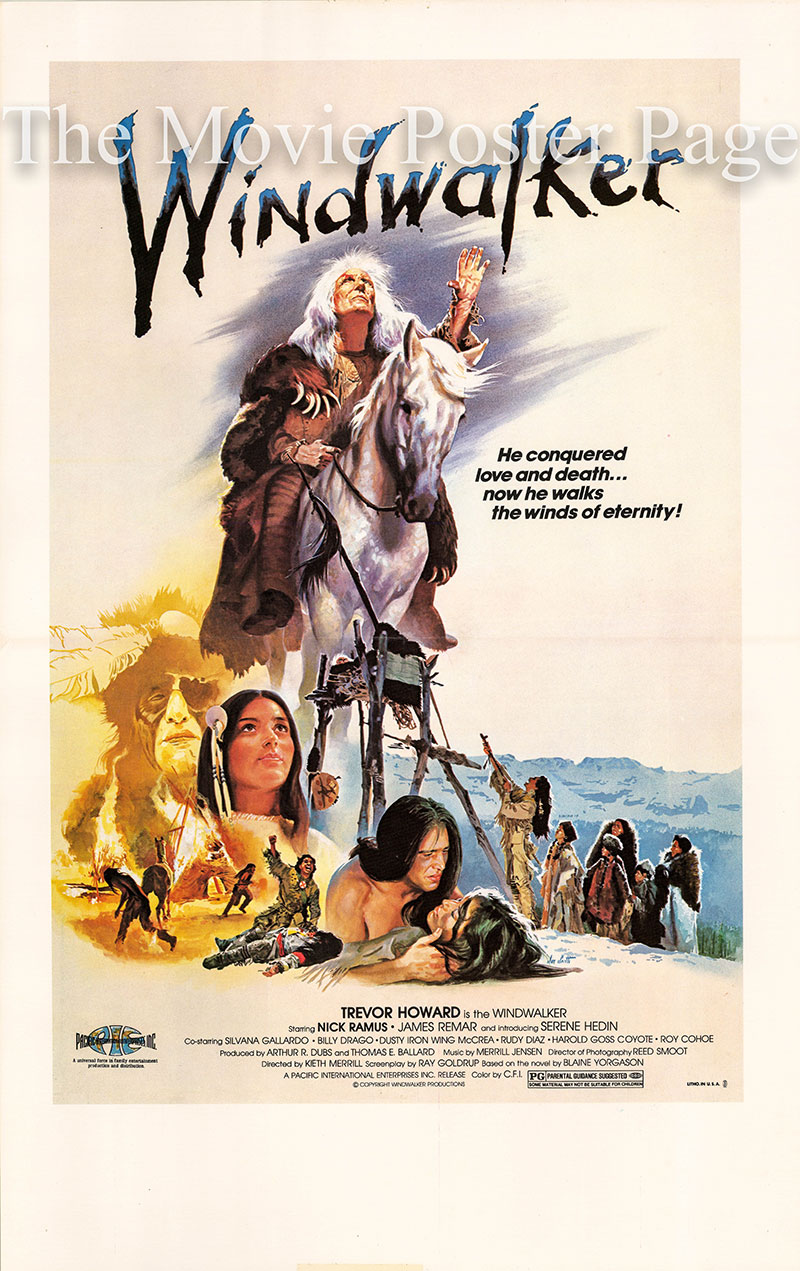 pictured is a US Window Card for the 1980 Kieth Merrill film <i>Windwalker</i> starring Trevor Howard as the Windwalker.
