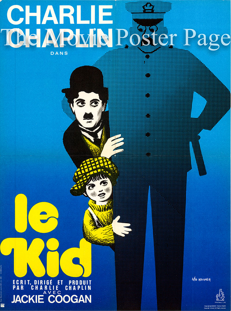 Pictured is a French medium promotional poster for the 1921 Charles Chaplin film The Kid starring Charlie Chaplin as the tramp.