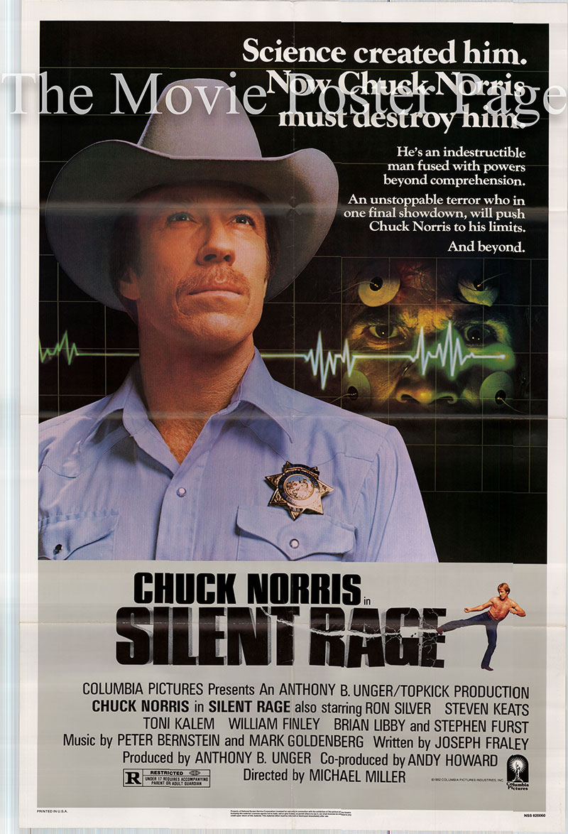 Pictured is a US promotional poster for the 1982 Michael Miller film Silent Rage starring Chuck Norris.