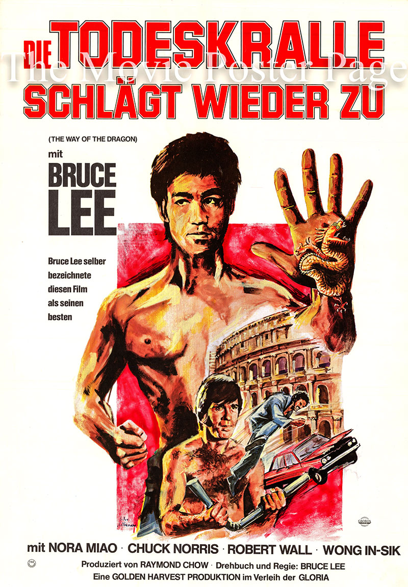 Pictured is an original German poster for the 1972 Bruce Lee film The Way of the Dragon, starring Bruce Lee as Tang Lung and Chuck Norris as Colt.