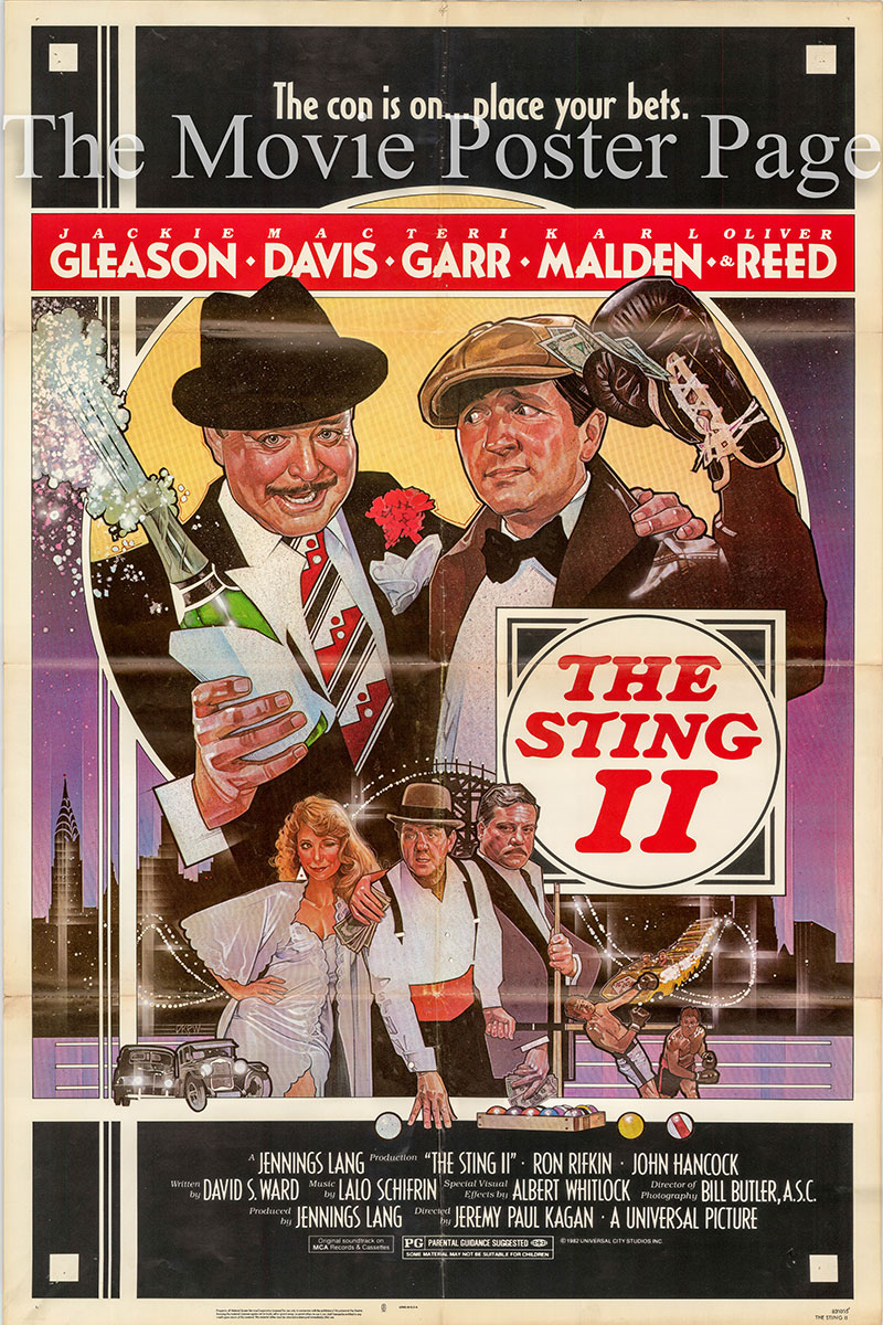 Pictured is a US one-sheet poster for the 1983 Jeremy Paul Kagan film The Sting II starring Jackie Gleason as Fargo Gondoroff.