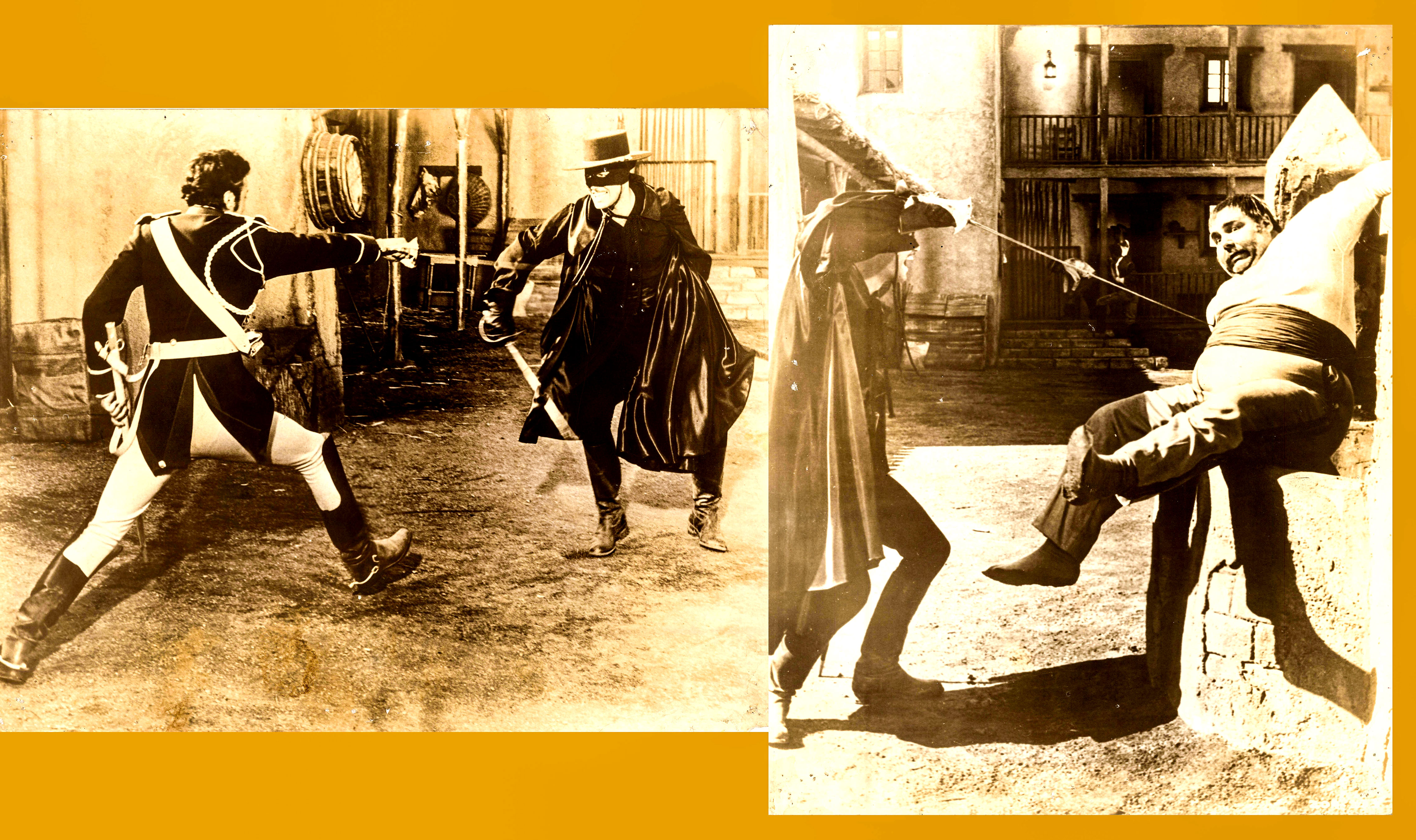 Pictured are two sepia stills from the 1940 Rouben Mamoulian film The Mark of Zorro starring Tyrone Poster as Diego/Zorro.
