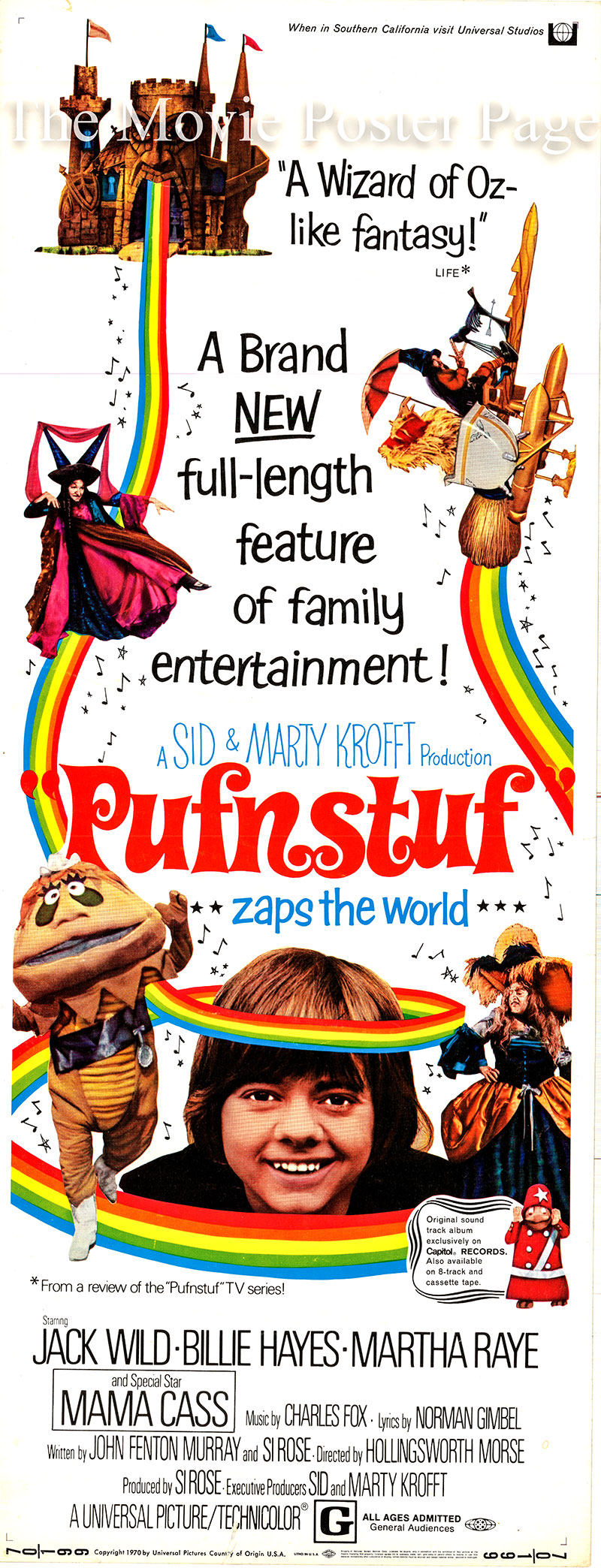 Pictured is a US insert promotional poster for the 1970 Hollingsworth Morse film Pufnstuf starring Jack Wild as Jimmy.