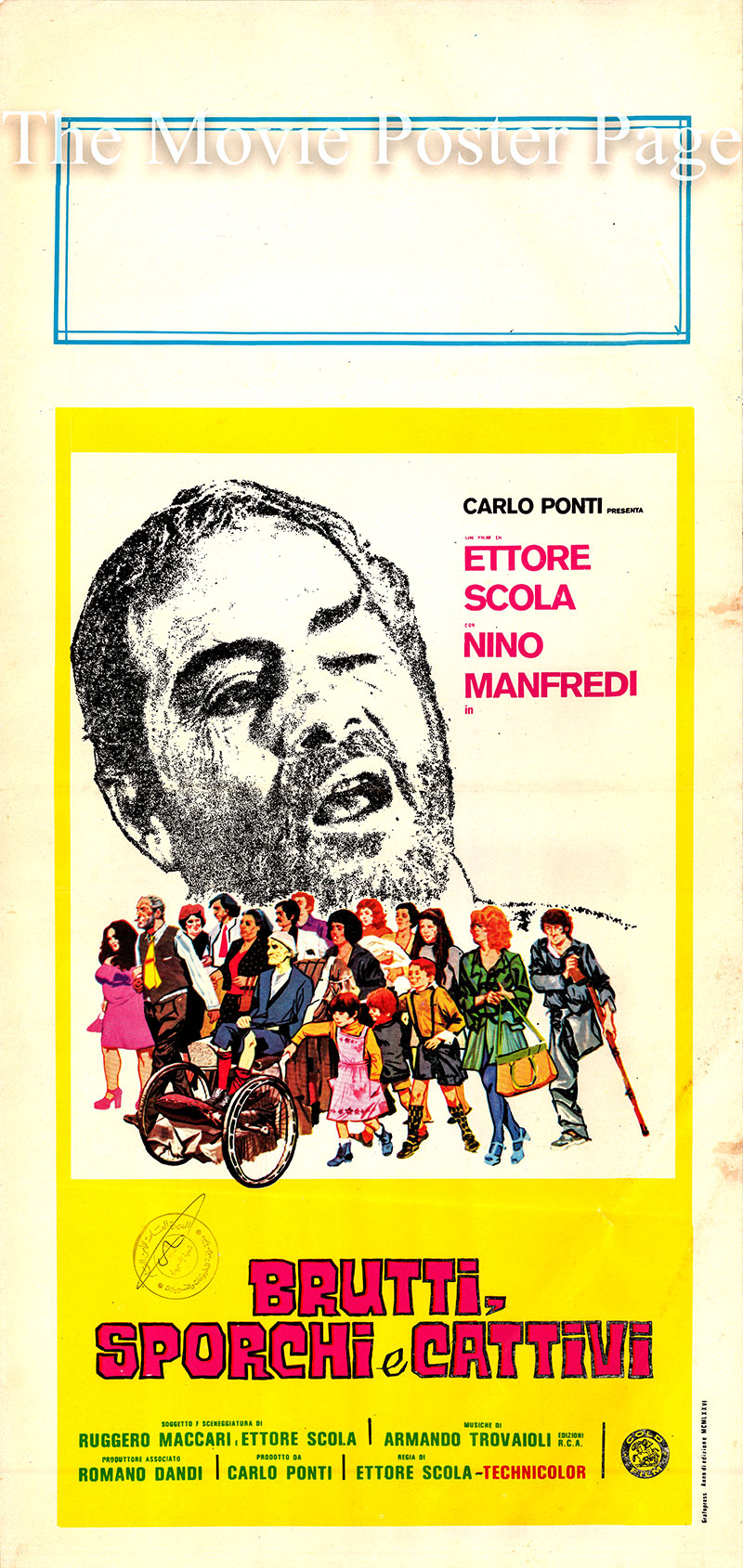 Pictured is an Italian locandina promotional poster for the 1976 Ettore Scola film Ugly Dirty and Bad AKA brutti sporchi e cattivi starring Nino Manfredi as Giacinto Mazzatella.