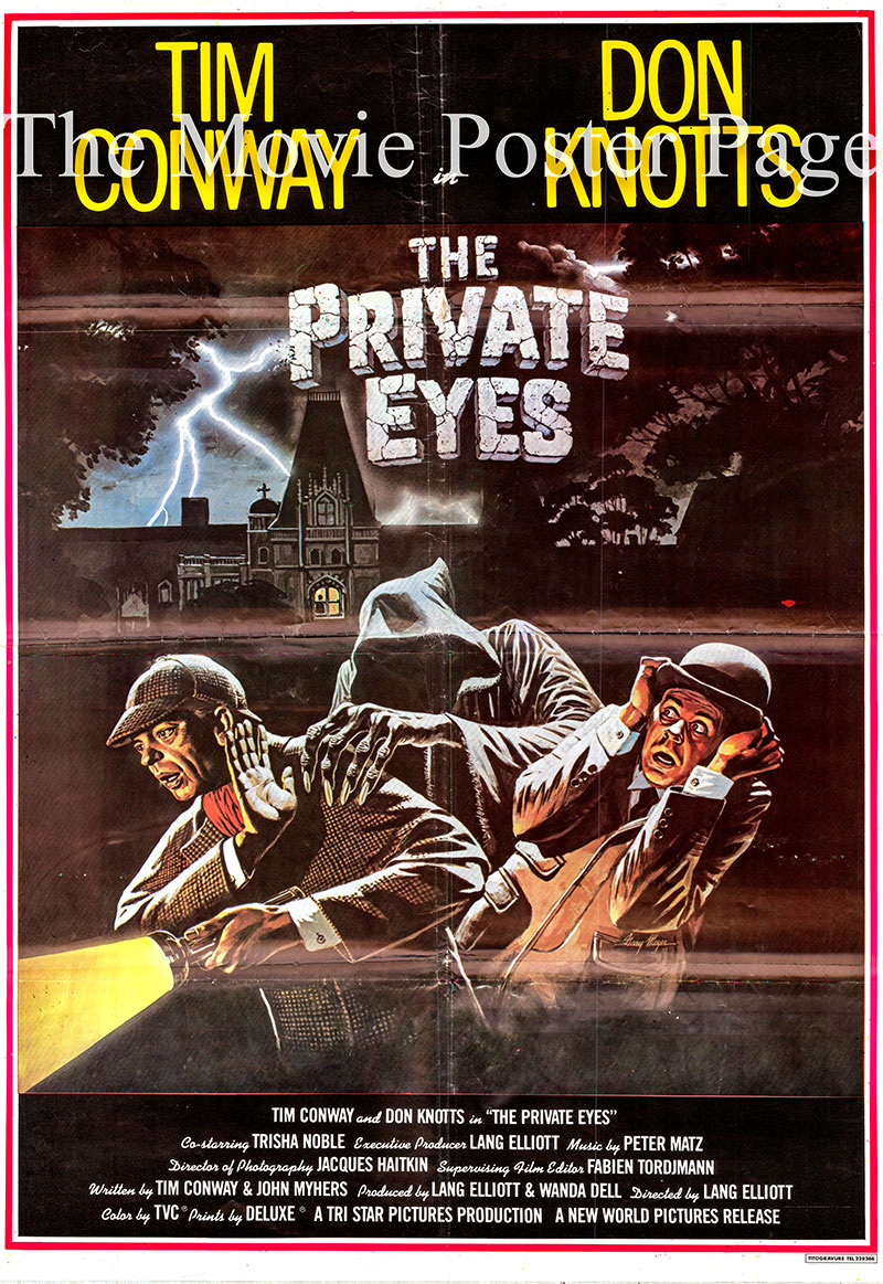Pictured is a Lebanese one-sheet promotional poster for the 1980 film The Private Eyes starring Tim Conway as Dr. Tart.