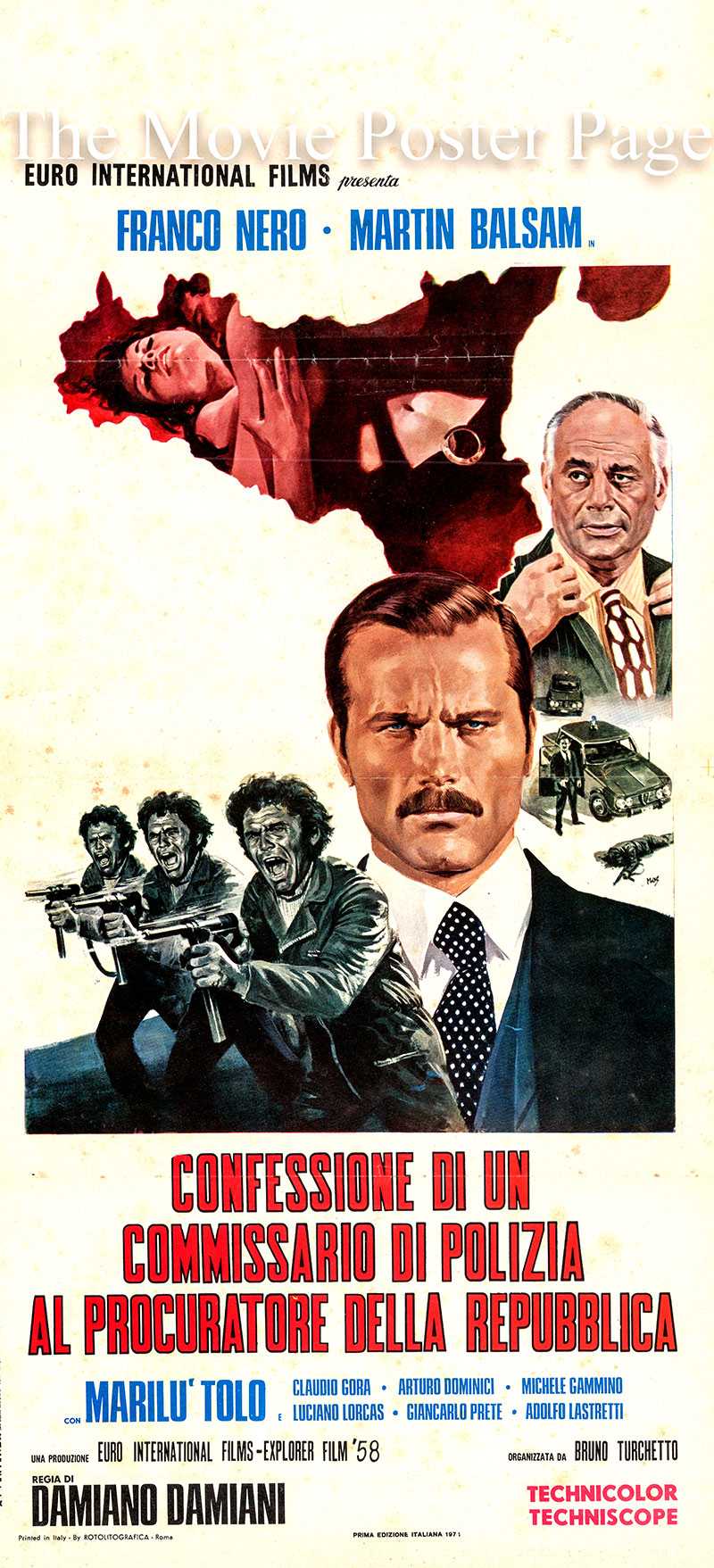 This is an Italian locandina poster for the 1971 Damiano Damiani film Confessions of a Police Captain starring Franco Nero as Deputy D. A. Traini.