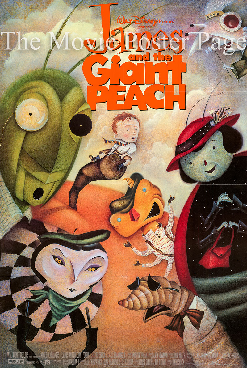 Pictured is a US one-sheet poster for the 1996 Henry Selick film James and the Giant Peach starring Paul Terry as James.
