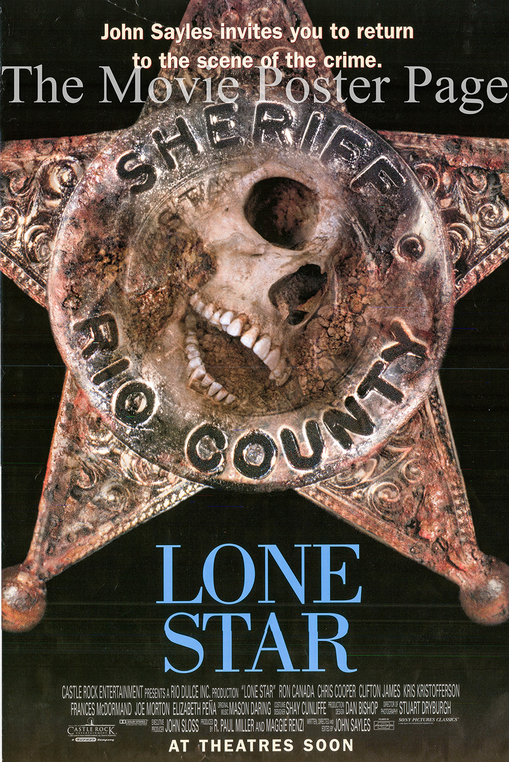 Pictured is a US one-sheet promotional poster for the 1996 John Sayles film Lone Star starring Chris Cooper as Sam Deeds.