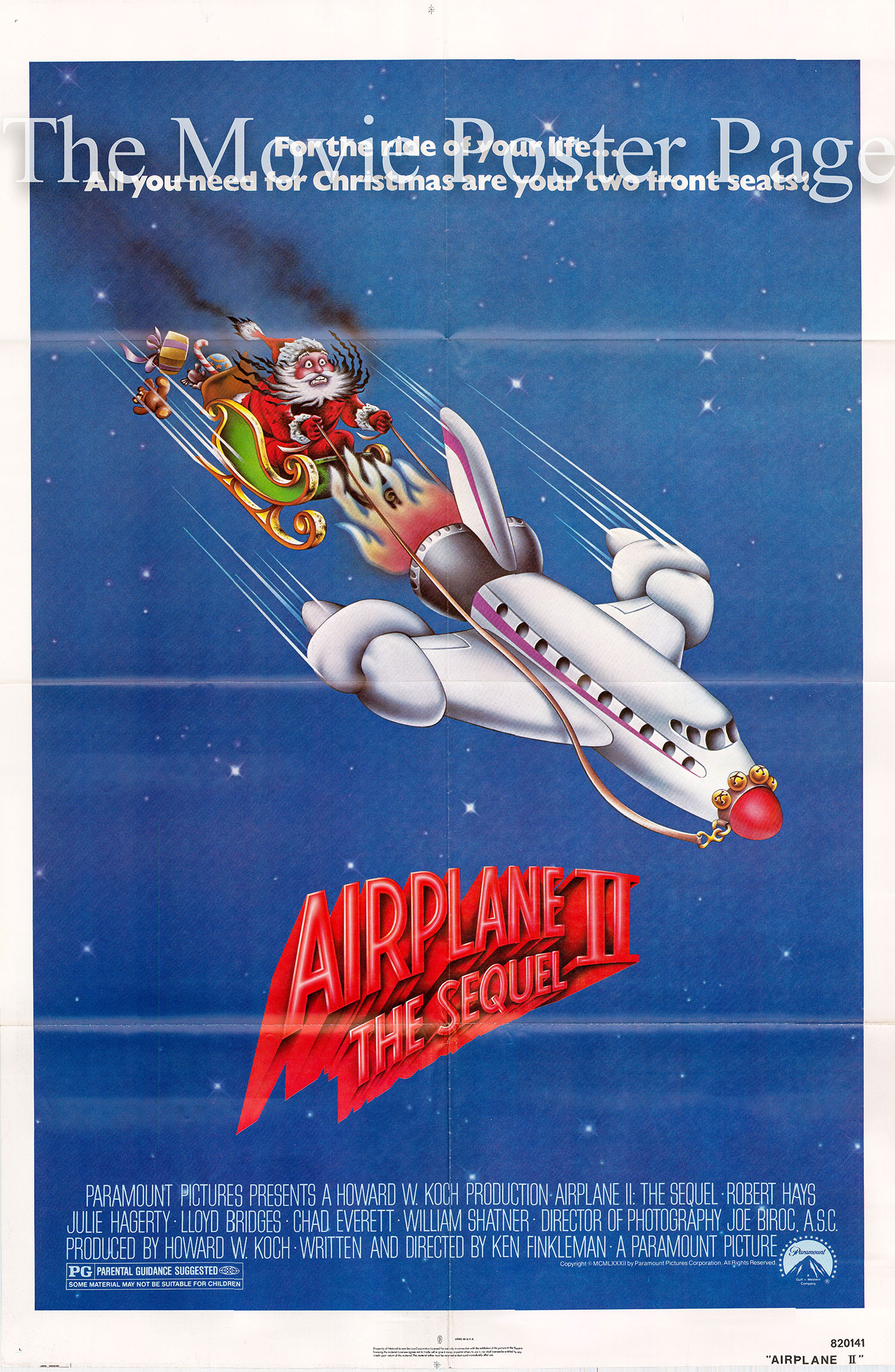Pictured is a US one-sheet promotional poster for the 1982 Ken Finkleman film Airplane II: The Sequel, starring Robert Hays.