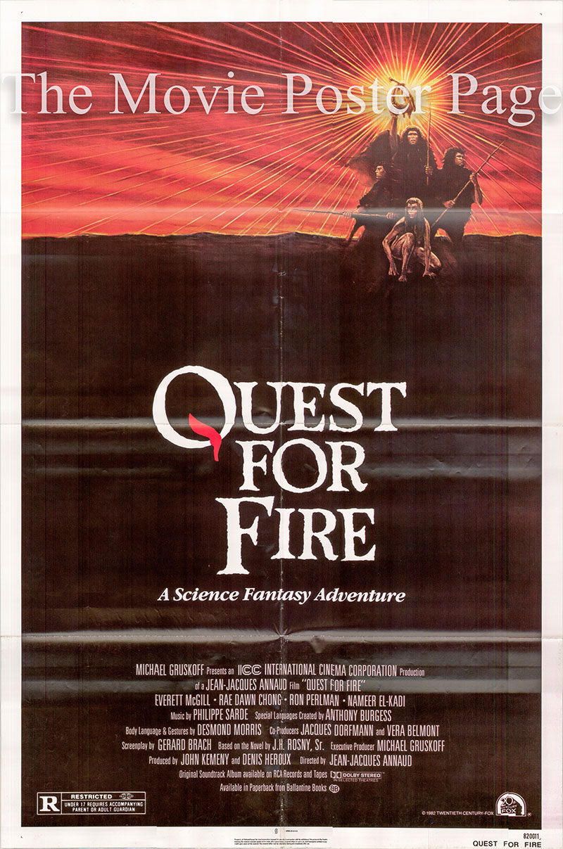 Pictured is a US one-sheet poster for the 1981 Jean-Jacques Annaud film Quest for Fire starring Ro n Perlman as Amoukar.