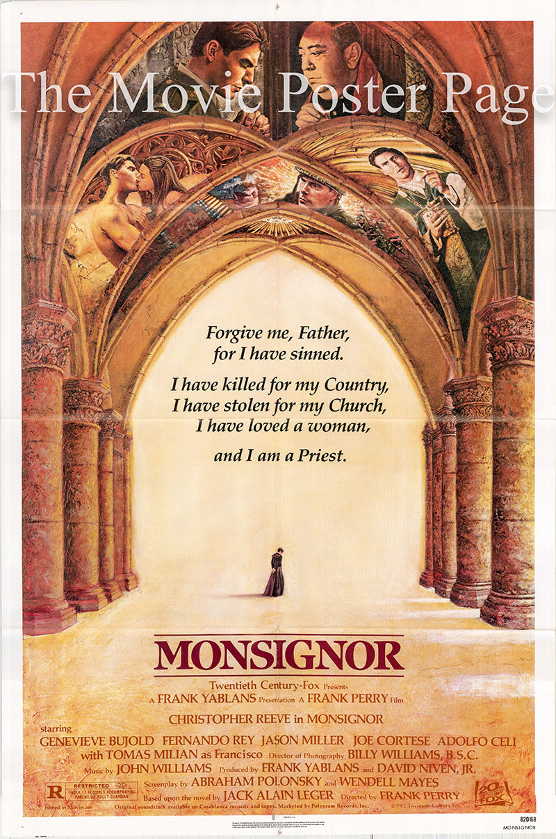 Pictured is a US one-sheet poster for the 1982 Frank Perry film Monsignor starring Cristpher Reeve.