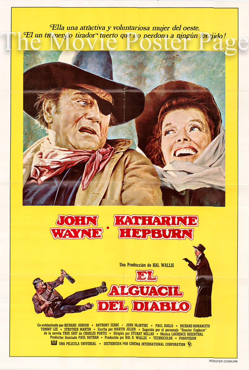 Pictured is a Spanish promotional poster for the 1975 Stuart Millar film Rooster Cogburn starring John Wayne and Katherine Hepburn.