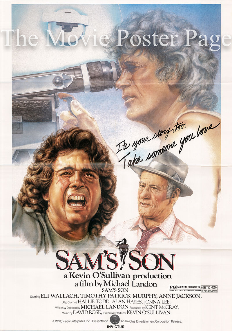 Pictured is a US one-sheet promotional poster for the 1984 Michael Landon film Sam's Son starring Eli Wallach as Sam Orowitz.