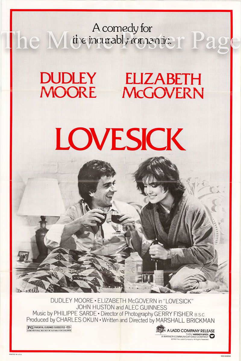 Pictured is a US one-sheet poster for the 1983 Marshall Brickman film Lovesick starring Dudley Moore.