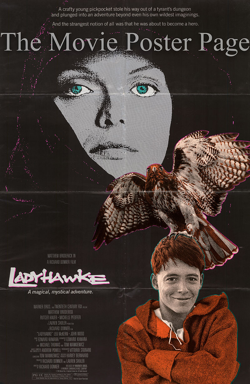 Pictured is a US one-sheet poster for the 1984 Richard Donner film Ladyhawke starring Matthew Broderick.