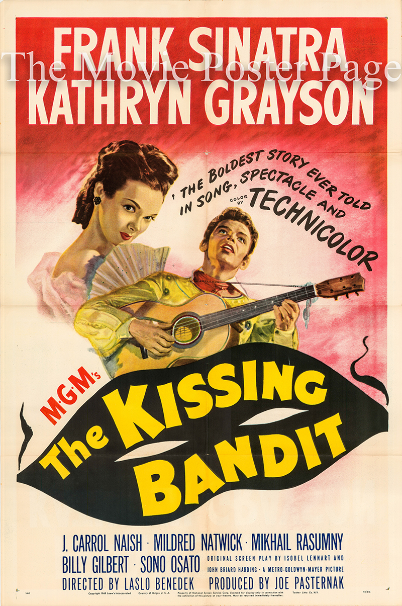 Pictured is a US one-sheet poster for the 1948 Laslo Benedek film The Kissing Bandit starring Frank Sinatra as Ricardo.