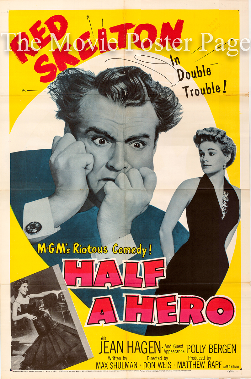 Pictured is a US one-sheet promotional poster for the 1953 Don Weis film Half a Hero starring Red Skelton