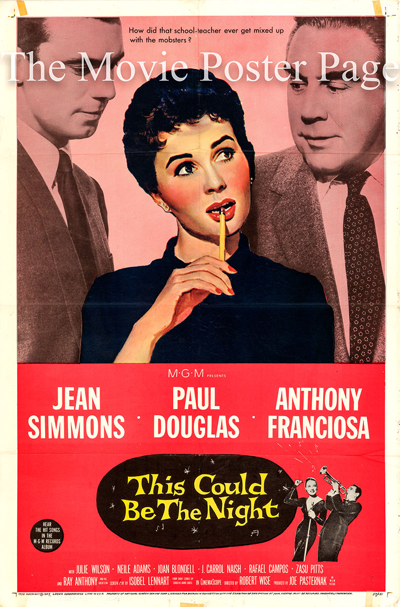 Pictured is a US one-sheet poster for the 1957 Robert Wise film This Could Be the Night starring Jean Simmons as Anne Leeds.
