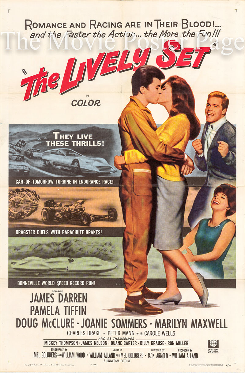 Pictured is a US one-sheet poster for the 1964 Jack Arnold film The Lively Set starring James Darren as Casey Owens.