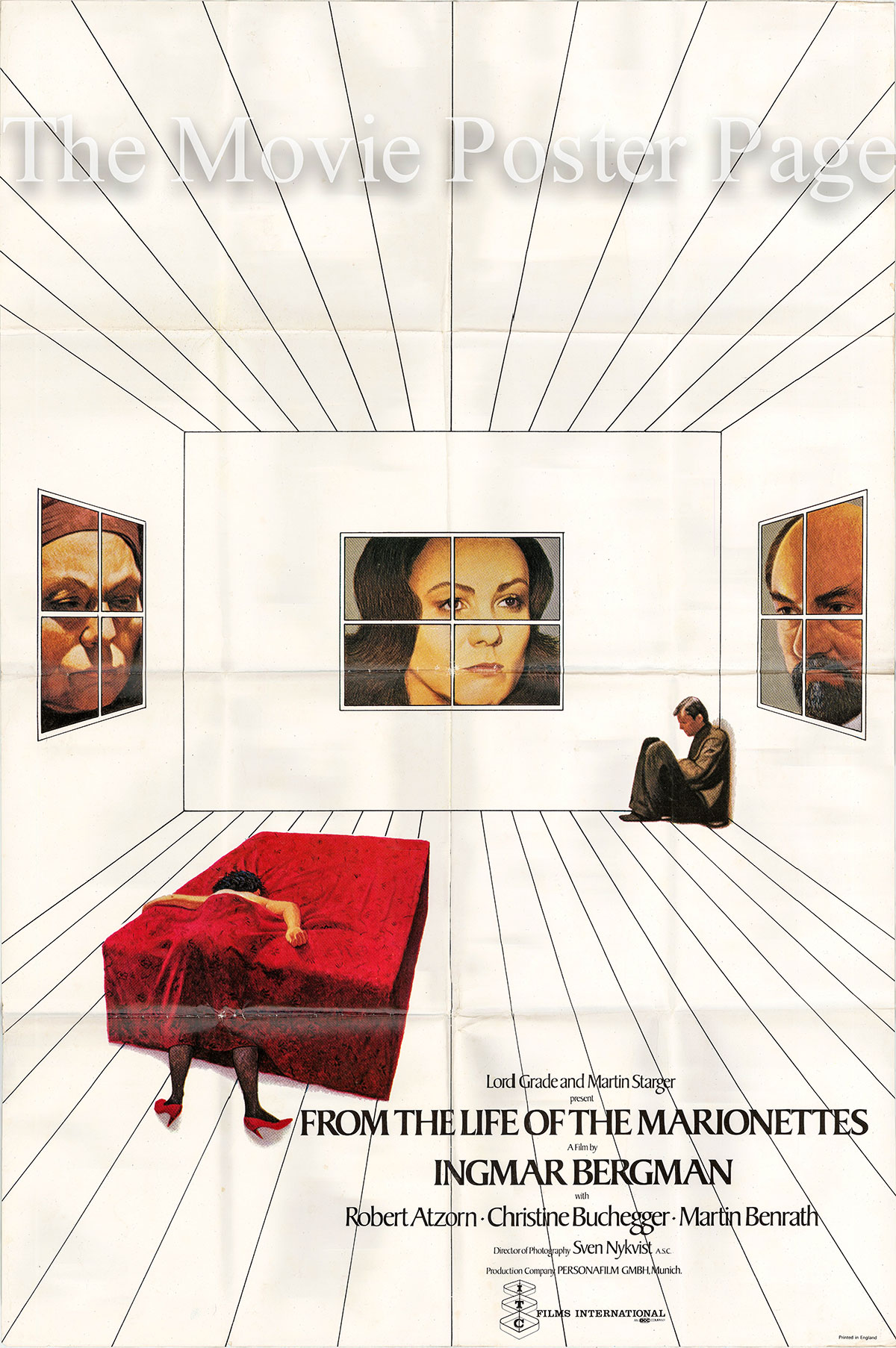 Pictured is a UK one-sheet poster for the 1979 Ingmar Bergman film From the life of the Marionettes starring Robert Atzorn.