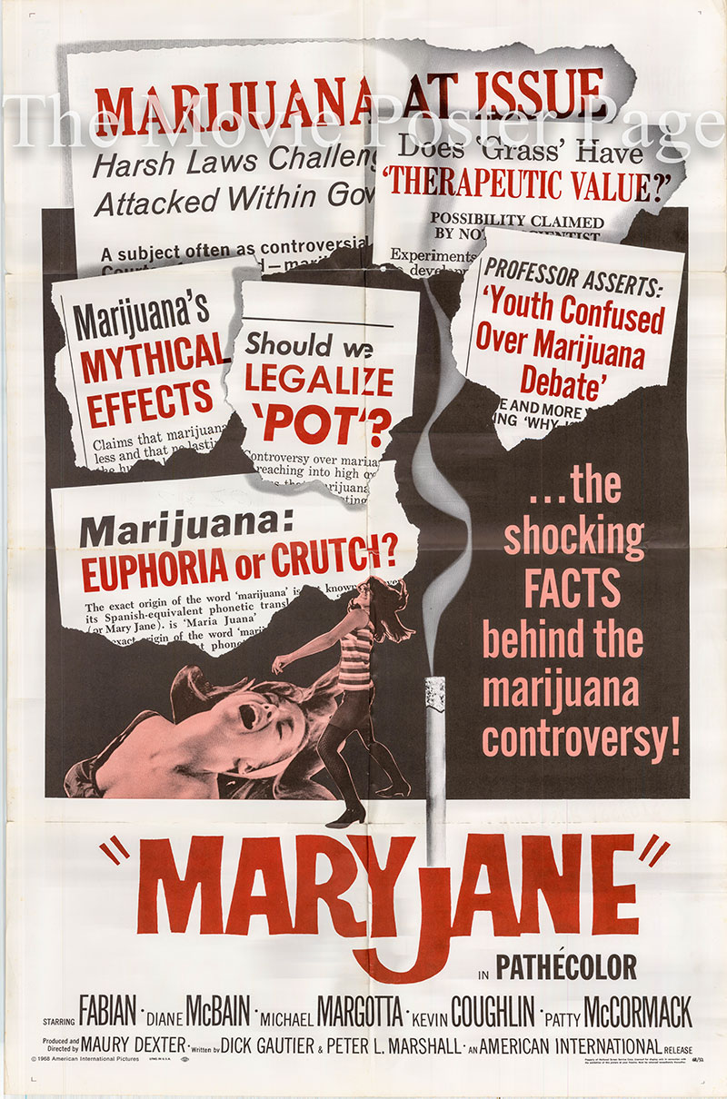 Pictured is a US one-sheet poster for the 1968 Maury Dexter film Maryjane starring Fabian as Phil Blake.