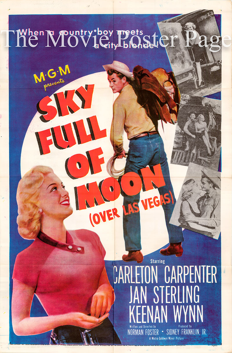 Pictured is a US one-sheet poster for the 1952 Norman Foster film Sky Full of Moon starring Carleton Crpenter as Harley Williams.