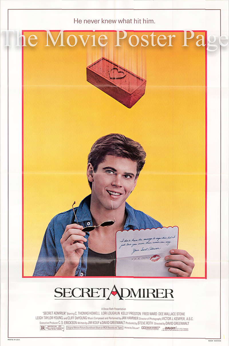 Pictured is a US promotional one-sheet poster for the 1985 David Greenwalt film Secret Admirer starring C. Thomas Howell as Michael Ryan.